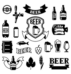 Set of badges and labels with beer objects for vector image