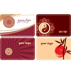 Set of cards with oriental design vector