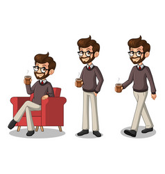 set of hipster businessman making a break vector image