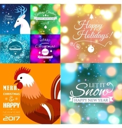 Set of Merry Christmas postcard with designed text vector