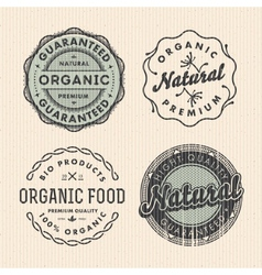 set vintage organic labels vector image