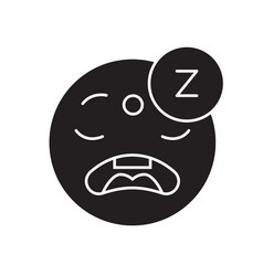 sleeping emoji black concept icon sleeping vector image