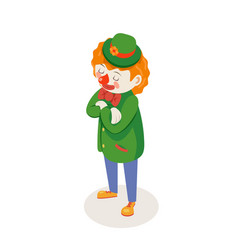 solemn listening waiting clown isometric circus vector image