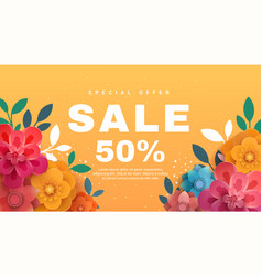 spring sale banner with paper flowers on a yellow vector image