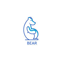 stylized graphic polar bear logo templates vector image