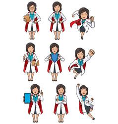 Super doc asian female set vector