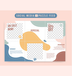 Sweet and cute editable social media grid post vector