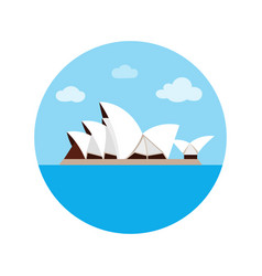 Sydney opera house icon in cartoon style isolated vector