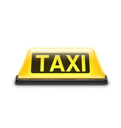 Taxi yellow car roof sign isolated on white vector