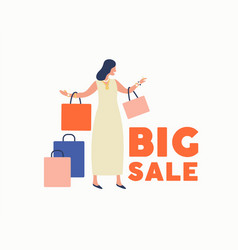 Trendy cartoon woman carry shopping bags enjoy big vector