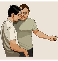 Two men talk vector