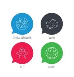 Ufo planet and global network icons vector image
