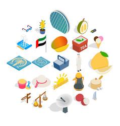 United arab emirates icons set isometric style vector