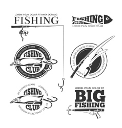 Vintage fishing labels logos emblems set vector