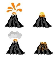 Volcano erupting peak of mountain fiery crater vector