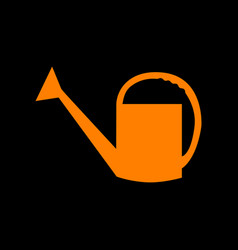 watering sign orange icon on black background vector image