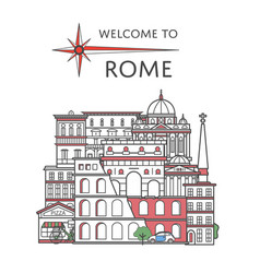 welcome to rome poster in linear style vector image