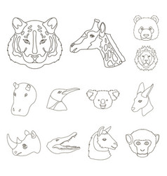 Wild animal outline icons in set collection for vector