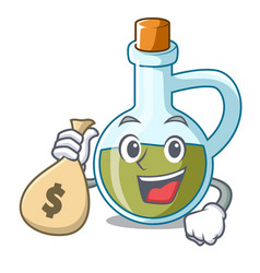 With money bag character olive oil in bottle vector