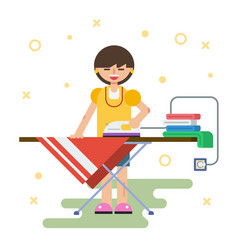 Woman irons clothes at home vector