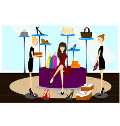 women shopping for shoes vector image