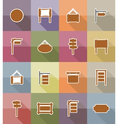Wooden board flat icons 18 vector