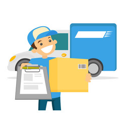 young delivery man delivering parcel to customer vector image