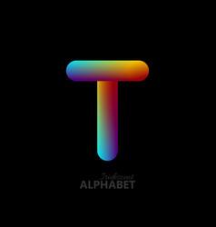 3d iridescent gradient letter t vector image vector image