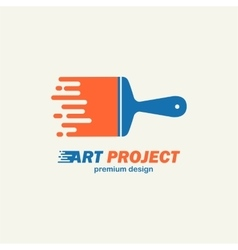 Abstract painting brush icon emblem logo vector