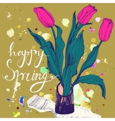 Decorative card with hand drawn tulips and text vector image vector image