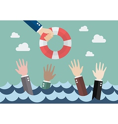 Drowning businessmen getting only one lifebuoy vector image