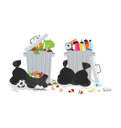garbage can full of overflowing trash vector image vector image