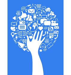hand social media tree vector image vector image