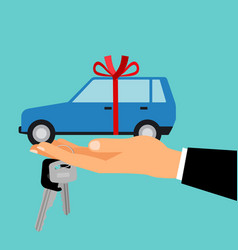 man hand holding gift car vector image