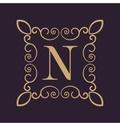 Monogram letter n calligraphic ornament gold vector