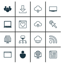 Set of 16 online connection icons includes login vector