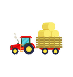 tractor with hay on trailer icon vector image