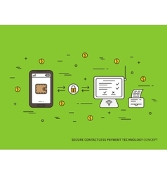 Contactless payment color fill vector image