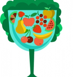 fruits in glass vector image vector image