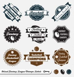 Mixed Fantasy Sports Labels vector image vector image
