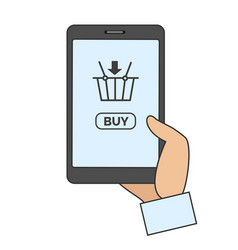 mobile phone with online buy app vector image vector image