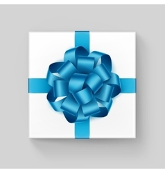 Square Gift Box with Shiny Light Blue Azure Ribbon vector image vector image