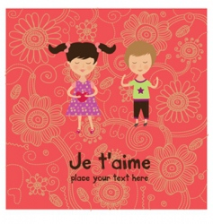 valentine kids greeting card vector image