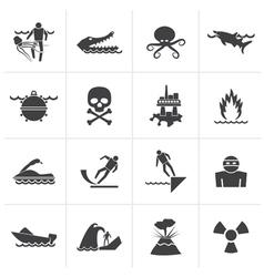 Black Warning Signs for dangers vector image