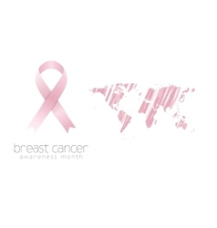 Breast cancer awareness pink ribbon and grunge map vector image vector image