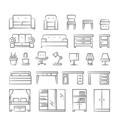 hand drawn living room furniture icons on white vector image