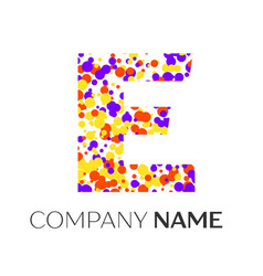 letter e logo with purple yellow red particles vector image vector image