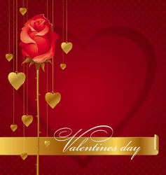red rose and hanging hearts vector image vector image