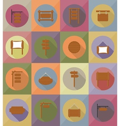 wooden board flat icons 19 vector image vector image