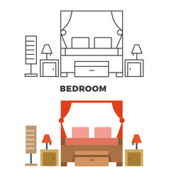 Bedroom concept - flat style and line style vector